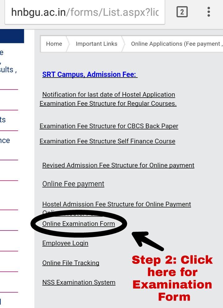 How To Fill HNBGU Examination Form